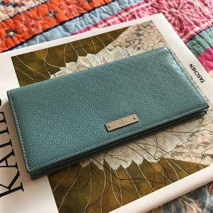 GUCCI - Light Blue Micro Guccissima Leather Wallet